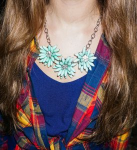 statement necklace paired with glamping flannel