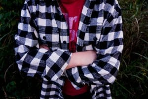 black and white checkered glamping flannel