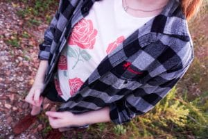 graphic tee under glamping flannel