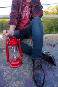 dress shoes with red lantern